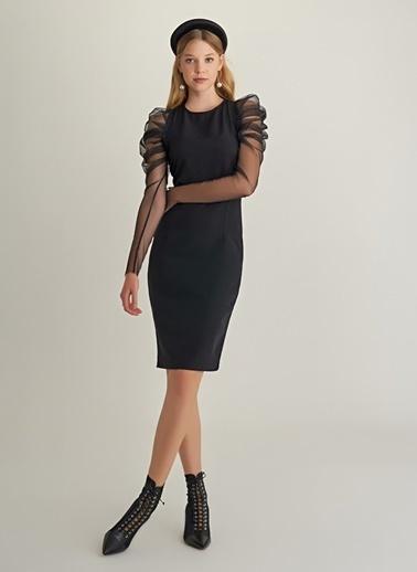 NGSTYLE Kol Detaylı Tül Elbise Siyah